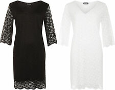 New Womens Plus Size V-Neck Floral Lace Lined 3/4 Sleeve Ladies Dress 14-28