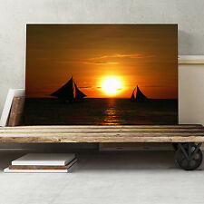 30x20 Inch Canvas Print Picture Wall Art Sailing Boat Sunsets Seascape