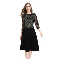 Lace Dress 3/4 Sleeve Party Cocktail O-Neck Office Skirt Dress Summer Black Pink
