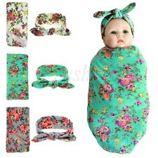 Newborn Baby Floral Swaddle Wrap Swaddling Sleeping Bag Blanket with Headband