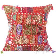 "24"" Red Patchwork Decorative Sofa Throw Pillow Cushion Cover Indian Bohemian Boh"