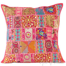 "20"" Pink Patchwork Decorative Cushion Couch Pillow Throw Cover Bohemian Indian B"