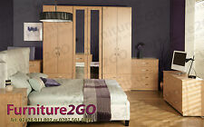 MILANO BEECH ASSEMBLED BEDROOM FURNITURE 6 DOOR WITH DRAWS NO HOME ASSEMBLY