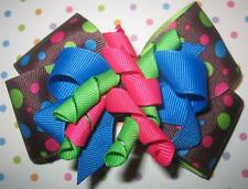 Brown Rainbow Dot Boutique Hair Bow Korker Girls Baby