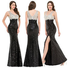 2017 HOT V-Neck Sequined High-Split Ball Gown Evening Celebrity Prom Party Dress