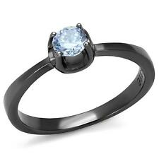 .61 Ct Stainless Steel Light Black IP Clear CZ Ring Size 5 6 7 8 9 10