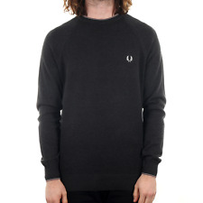 Fred Perry Micro Bomber Tipped Crew Neck Knit - Charcoal Marl