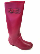 X1166- Ladies Fuchsia Knee High Rubber Wellington Boots- Great Price!