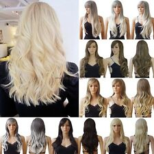Long Curly Straight Full Wigs Synthetic Hair Wig Cosplay Party Fancy Dress Black