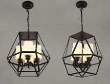 VINTAGE RETRO 4 GLASS HEADS IRON METAL HANGING LIGHT PENDANT CEILING CHANDELIER