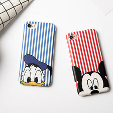 Cute slim stripe Mickey mouse Donald Duck soft case Cover for iPhone 7 6 6S Plus