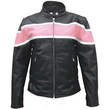 Ladies pink two tone motorcycle Buffalo Leather 2 zippered front pockets jacket