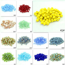 100pcs 4mm Bicone Faceted Crystal Glass Spacer Loose Beads Findings(193color)