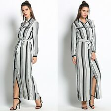 Summer Women Casual Sexy Maxi Side Slit Party Striped BOHO Long Maxi Shirt Dress