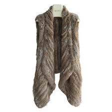 Casual Thick Coat 100% Rea Knitted Rabbit Fur Vest Spring Gilet Free Size V0110