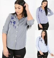 Ladies Womens Striped Embroidered Floral Blouse Shirt Collared Dress Top