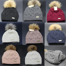 Women Winter Warm Knitted Hat Ladies Wool Blend Fur Pom Beanie Bobble Ski Cap