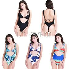 Womens Sexy 2Pcs Swimsuit Halter Bikini Padded Bra Top+Leotard Bodysuit Swimwear