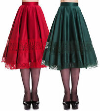 HELL BUNNY 50's green & red VTG SWING JIVE ROCKABILLY LACE SKIRT XS S M L XL