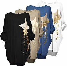 Italian Lagenlook Star Sequins keyhole back High Low Tunic top dress Plus Size