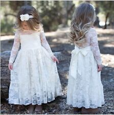 Kids Princess Pageant Birthday Party Long Dress Vintage Lace Flower Girl Dress