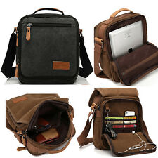Men's Vintage Canvas Leather Satchel School Military Shoulder Bag Card Messenger