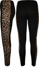 New Plus Size Womens Animal Leopard Print Panel Ladies Full Long Leggings 14-20