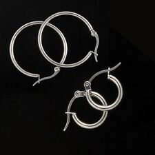 2017 Mens Women Fashion 316L Stainless Steel Blank Silver Hoop Earrings Ear Stud