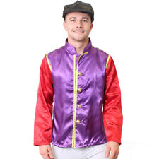 JOCKEY COSTUME 2 PIECE PURPLE  SET MENS HORSE RACING FANCY DRESS JACKET AND CAP