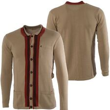 Gabicci Vintage Mens Beige Knitted Striped Cardigan Button Up Knitwear S-2XL