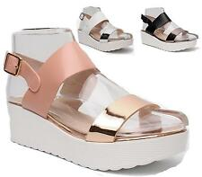Ladies Womens Chunky Wedge Platform Sole Metallic Band Shoes Peeptoe Sandals