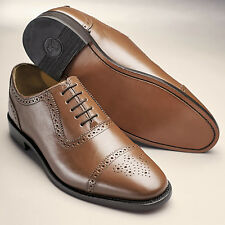 Samuel Windsor Prestige Handmade Tan Brown Leather Semi Brogue Lace Up Shoes