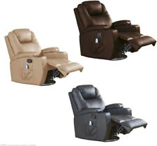 Leather Reclining Massage Cinema Gaming Armchair Two Cup Holders Front Foot Rest