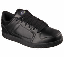 77058 Black Skechers Shoe Work Safety Men Memory Foam Slip Resistant Leather New