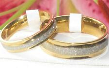 MENS WOMENS 7mm 4mm stainless STEEL 18kt GOLD ROLLED  wedding band ring STR275
