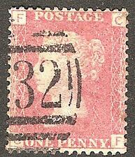 1858-79 1d ROSE-RED USED SG43/44 Plates 121-140