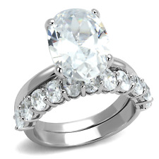 LO4089 WEDDING & ENGAGEMENT SIMULATED DIMOND RING SET OVAL CLEAR 2PCS WOMENS