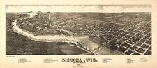 Photo Reprint Antique American Cities Towns States Map Merrill Lincoln Wisconsin