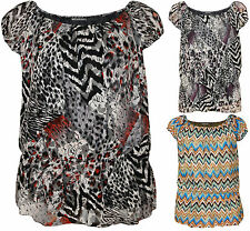 New Plus Size Womens Print Lace Lined Short Sleeve Ladies Scoop Gypsy Top 12-30