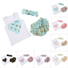 Newborn Toddler Baby Girl T-shirt Top +Pants Bloomer+Headband Outfit Clothes Set