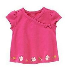 Gymboree Pink Infant Baby Girls Mouse Faux Kimono Wrap Short Sleeve Shirt Top