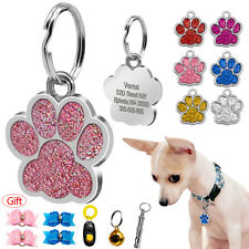 Glitter Paw Print Custom Pet Dog Tags Disc Engraved Cat ID Tag with Free Gift