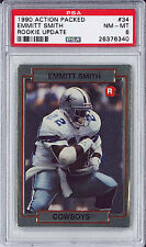 1990 Action Packed Rookie Update #34 Emmitt Smith Cowboys RC HOF PSA 8 NM-MT