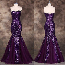 Lady Sequined Long Mermaid Formal Evening Gown Prom Wedding Ball Wedding Dress ;