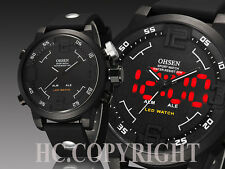 OHSEN Men's LED Digital Date Analog Big Face Sport Steel Quartz Wrist Watch Gift