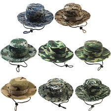 NEW Men Cotton Bucket Hat Boonie Hunting Fishing Outdoor Cap Washed W/ STRINGS