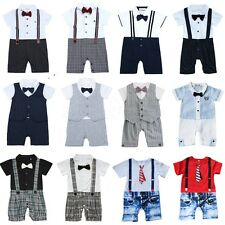 One-Piece Baby Boys Gentleman Tuxedo Suits Formal Romper Jumpsuit Outfits 0-24M