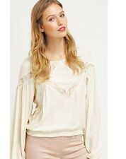 $160 NWT Free People GEOMETRY LESSON Lace Blouse Cream Off-white Sz M L