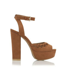 New Billini Womens Shoes Hawn Tan Suede Platforms Heels