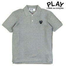 %ORIGINAL Men's Grey Polo Shirt COMME DES GARCONS CDG PLAY Black Heart Size M-XL